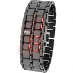 LEDz Red LED Dial Gun Matel Bracelet Gents Watch LEDG012