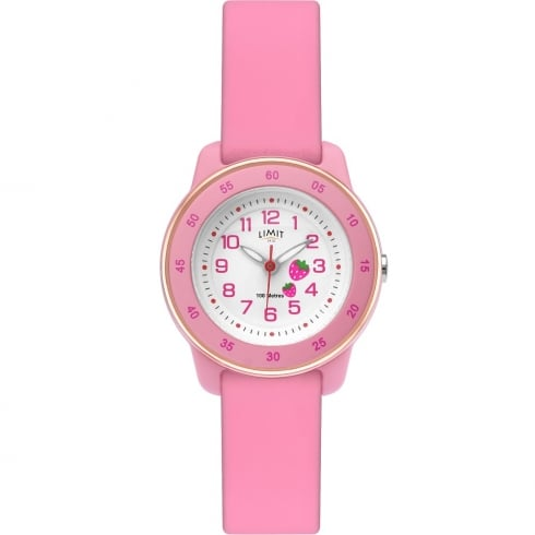 Limit Active Kids White Dial Pink Silicon Strap Girls Watch 6248