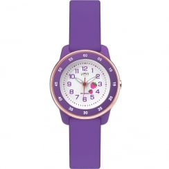 Limit Active Kids White Dial Purple Silicon Strap Girls Watch 6250