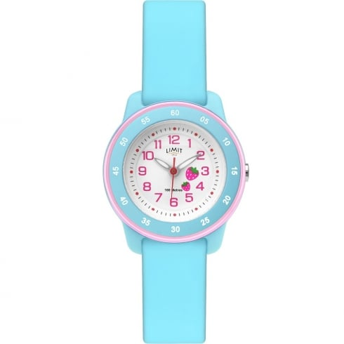 Limit Active Kids White Dial Turquoise Silicon Strap Girls Watch 6249
