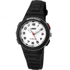 Limit Active White Dial Black Plastic Strap Girls Watch 5591