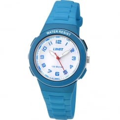 Limit Active White Dial Blue Plastic Strap Girls Watch 5593
