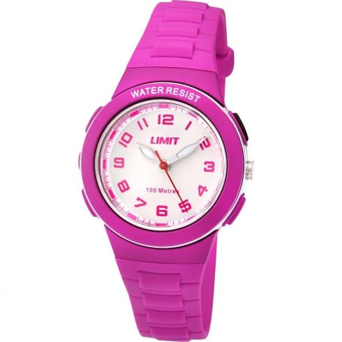 Limit Active White Dial Pink Plastic Strap Girls Watch 5592