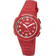 Limit Active White Dial Red Plastic Strap Girls Watch 5595