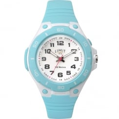 Limit Active White Dial Turquoise Silicon Strap Children Watch 5698