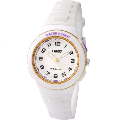 Limit Active White Dial White Plastic Strap Girls Watch 5590