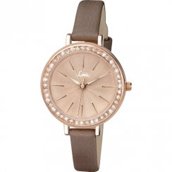 Limit Bella Stone Set Rose Gold Dial Brown Strap Ladies Watch 6085
