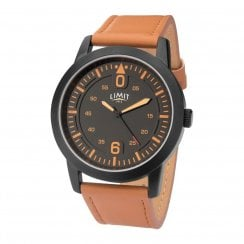 Limit Black Dial Orange Leather Strap Gents Watch 5725