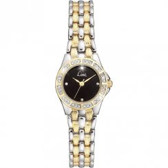 Limit Black Dial Two Tone Stainless Steel Bracelet Ladies Watch 6705