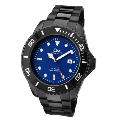 Limit Blue Dial IP Black Stainless Steel Bracelet Mens Watch 5518