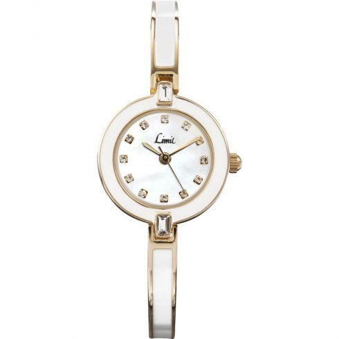 Limit Ceramic mother of pearl dial stainless steel semi-bangle Ladies watch 6943