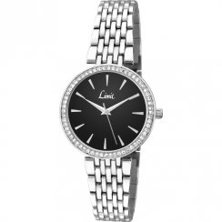 Limit Classic Black Dial Stainless Steel Bracelet Ladies Watch 6135