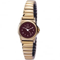 Limit Classic Burgundy Dial Gold Expander Ladies Watch 6985