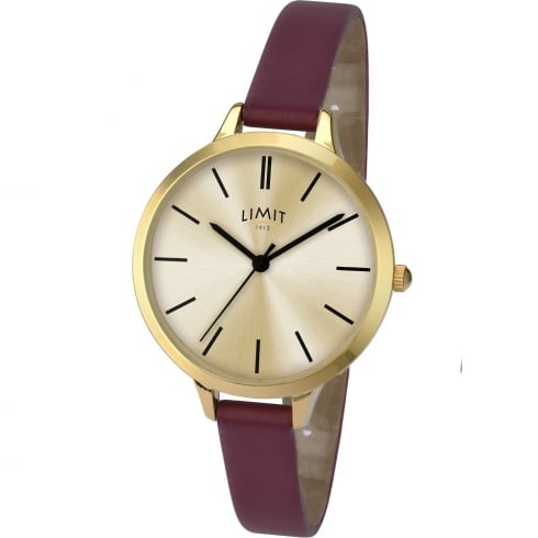 Limit Classic Champagne Dial Berry Strap Ladies Watch 6225