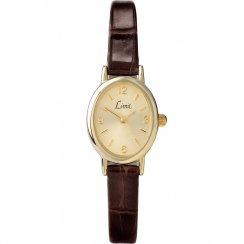Limit Classic Champagne Dial Brown Leather Upper Strap Ladies Watch 6156