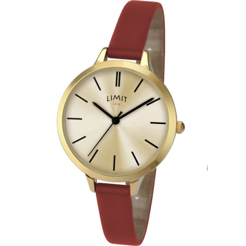 Limit Classic Champagne Dial Burgundy Strap Ladies Watch 6226