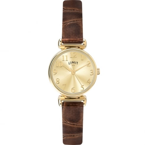 Limit Classic Champagne Dial Light Brown Leather Strap Ladies Watch 6209