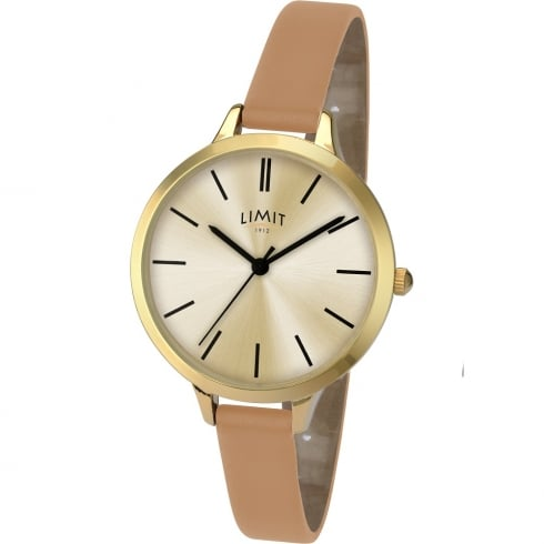 Limit Classic Champagne Dial Tan Strap Ladies Watch 6224