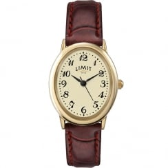 Limit Classic Cream Dial Burgundy Strap Ladies Watch 6147