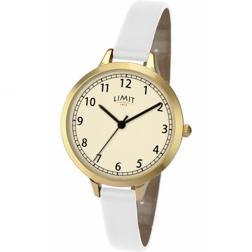 Limit Classic Cream Dial White Strap Ladies Watch 6230