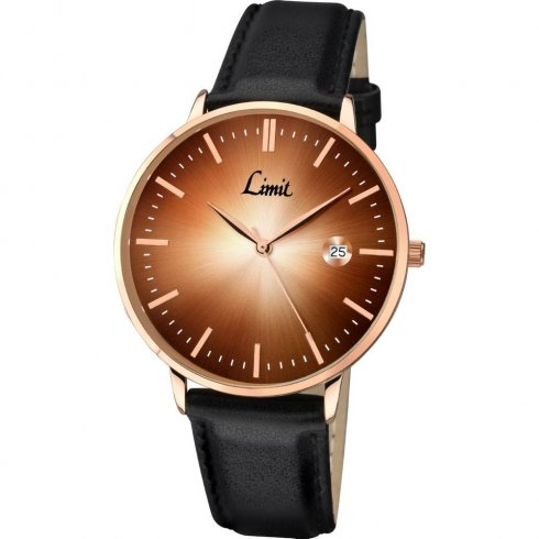 Limit Classic Gradient brown dial upper leather strap Mens watch 5512