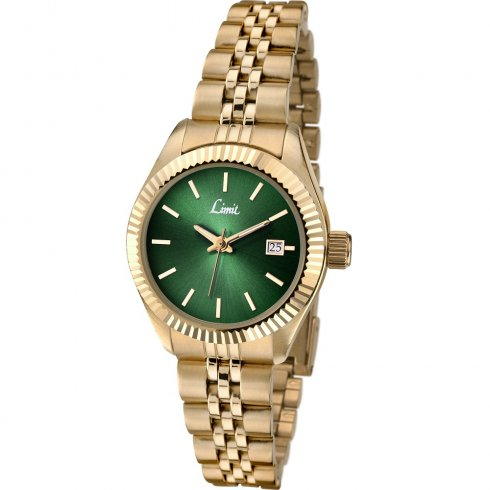 Limit Classic Green Dial Gold Bracelet Ladies Watch 6122