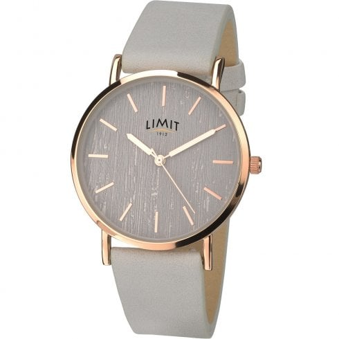 Limit Classic Grey Dial Grey Leather Strap Ladies Watch 6365