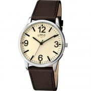 Limit Classic Ivory Dial Brown Strap Gents Watch 5614