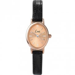 Limit Classic Rose Gold Dial Black Leather Upper Strap Ladies Watch 6157