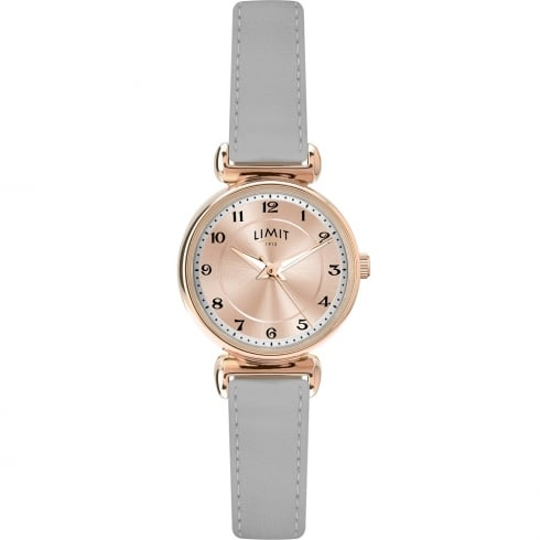 Limit Classic Rose Gold Dial Grey Leather Strap Ladies Watch 6211