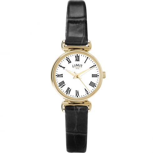 Limit Classic White Dial Black Leather Strap Ladies Watch 6210