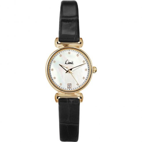 Limit Classic White Dial Black Leather Strap Ladies Watch 6948
