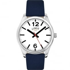Limit Classic White Dial Blue Leather Strap Gents Watch 5627
