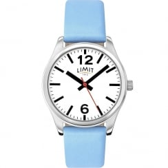 Limit Classic White Dial Blue Leather Strap Ladies Watch 6182