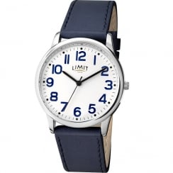 Limit Classic White Dial Blue Strap Gents Watch 5613