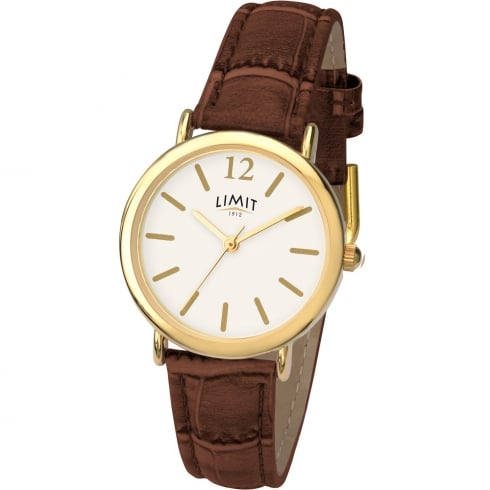 Limit Classic White Dial Brown Strap Ladies Watch 6239