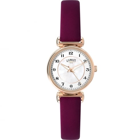 Limit Classic White Dial Burgundy Leather Strap Ladies Watch 6212
