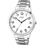 Limit Classic White Dial Chrome Bracelet Gents Watch 5624