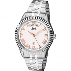 Limit Classic White Dial Chrome Expander Bracelet Gents Watch 5515