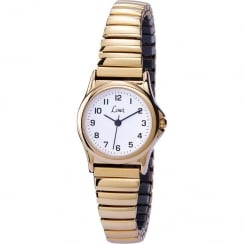 Limit Classic White Dial Gold Expander Ladies Watch 6984