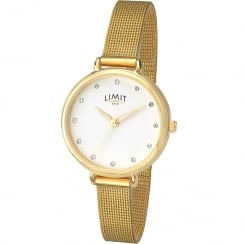 Limit Classic White Dial Gold Mesh Strap Ladies Watch 6222