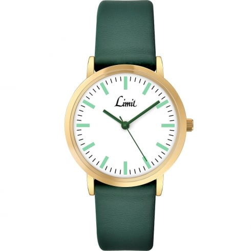 Limit Classic White Dial Green Strap Ladies Watch 6118