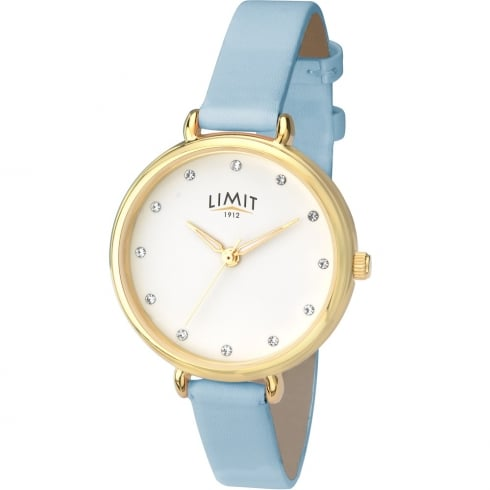 Limit Classic White Dial Light Blue Leather Strap Ladies Watch 6220