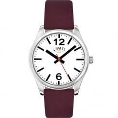 Limit Classic White Dial Mauve Wine Leather Strap Ladies Watch 6184