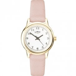 Limit Classic White Dial Salman Pink Strap Ladies Watch 60002