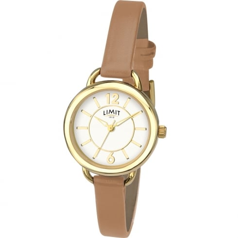 Limit Classic White Dial Tan Leather Upper Strap Ladies Watch 6216