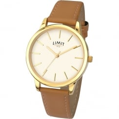 Limit Classic White Dial Tan Strap Ladies Watch 6236