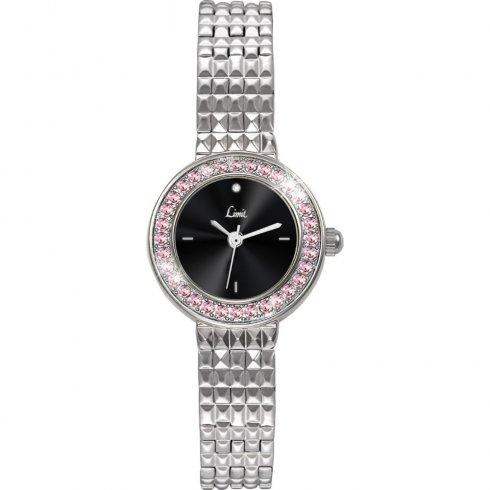 Limit Diamond black dial stainless steel bracelet Ladies watch 6922