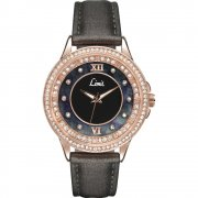 Limit Divine Black Dial Grey Fabric Strap Ladies Watch 6938