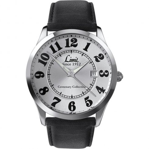 Limit Easy Reader silver dial upper leather strap Mens watch 5881